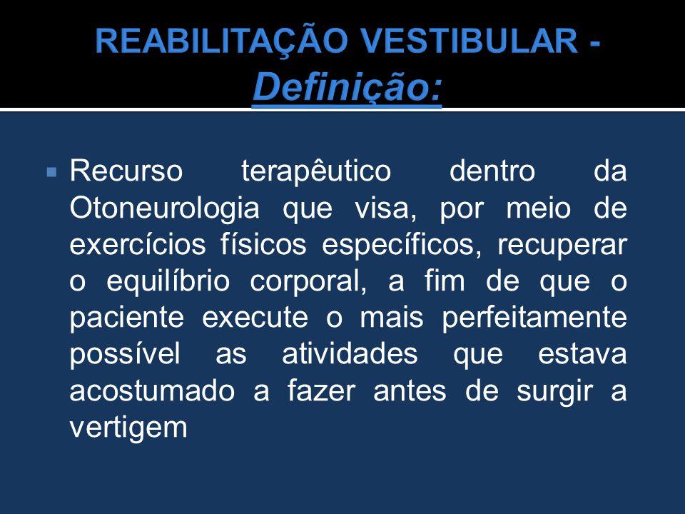  Recurso terapêutico dentro da Otoneurologia que visa, por meio de exercícios físicos específicos, recuperar o equilíbrio corporal, a fim de que o pa
