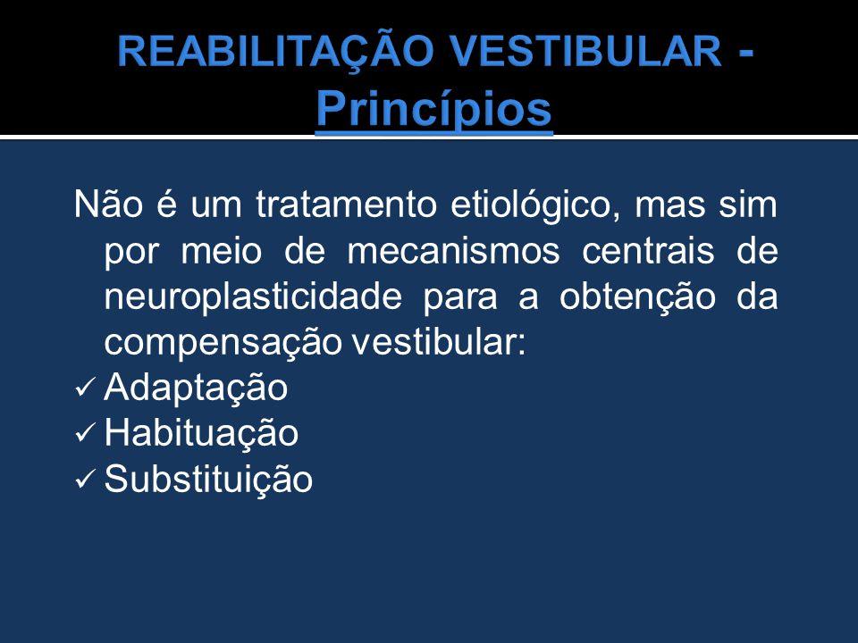 Não é um tratamento etiológico, mas sim por meio de mecanismos centrais de neuroplasticidade para a obtenção da compensação vestibular: Adaptação Habi
