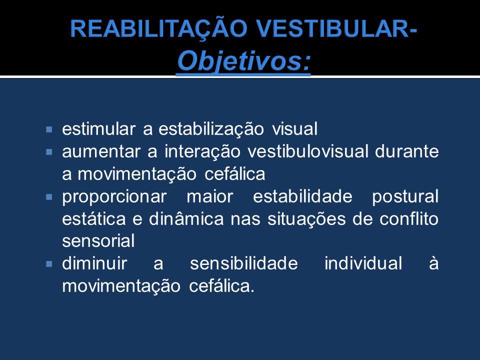  estimular a estabilização visual  aumentar a interação vestibulovisual durante a movimentação cefálica  proporcionar maior estabilidade postural e