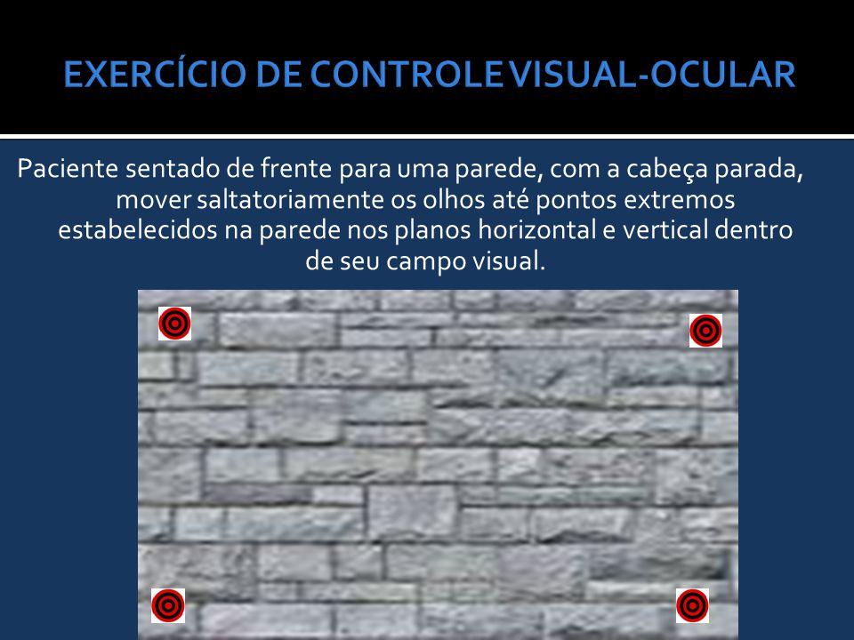 Paciente sentado de frente para uma parede, com a cabeça parada, mover saltatoriamente os olhos até pontos extremos estabelecidos na parede nos planos