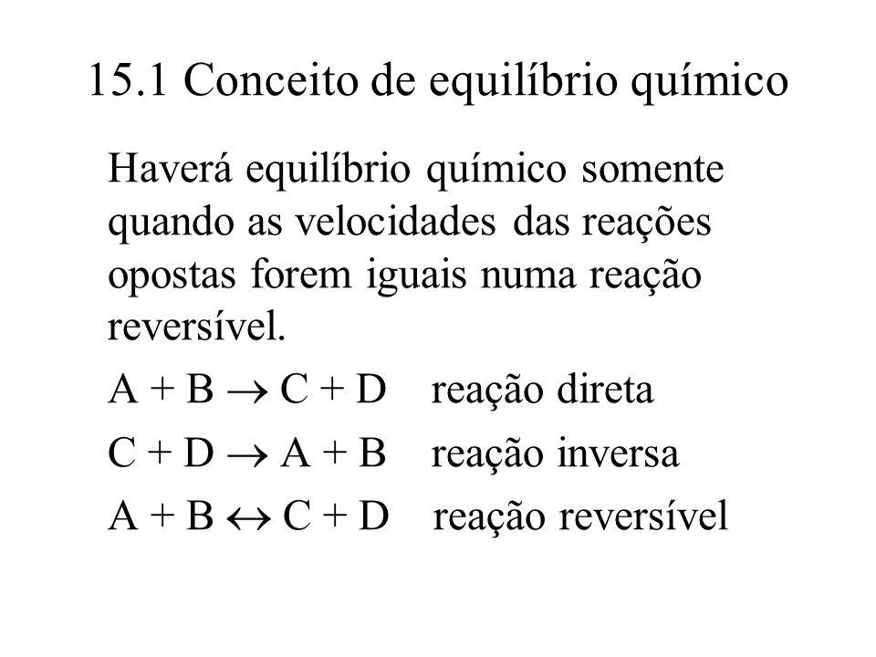15.1 Conceito de equilíbrio químico Haverá equilíbrio químico somente quando as velocidades das reações opostas forem iguais numa reação reversível. A