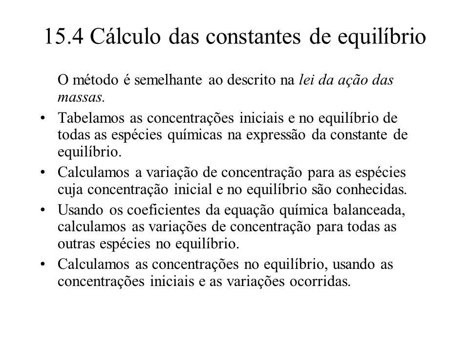 15.4 Cálculo das constantes de equilíbrio O método é semelhante ao descrito na lei da ação das massas. Tabelamos as concentrações iniciais e no equilí