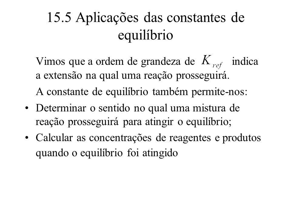 15.5 Aplicações das constantes de equilíbrio Vimos que a ordem de grandeza de indica a extensão na qual uma reação prosseguirá. A constante de equilíb
