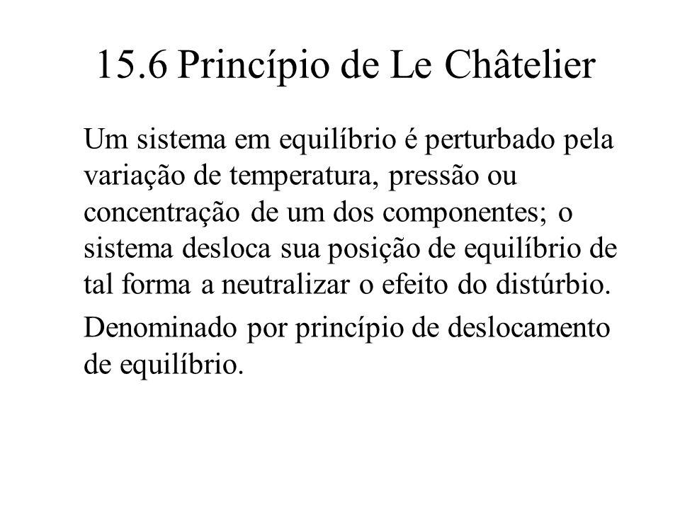 15.6 Princípio de Le Châtelier Um sistema em equilíbrio é perturbado pela variação de temperatura, pressão ou concentração de um dos componentes; o si