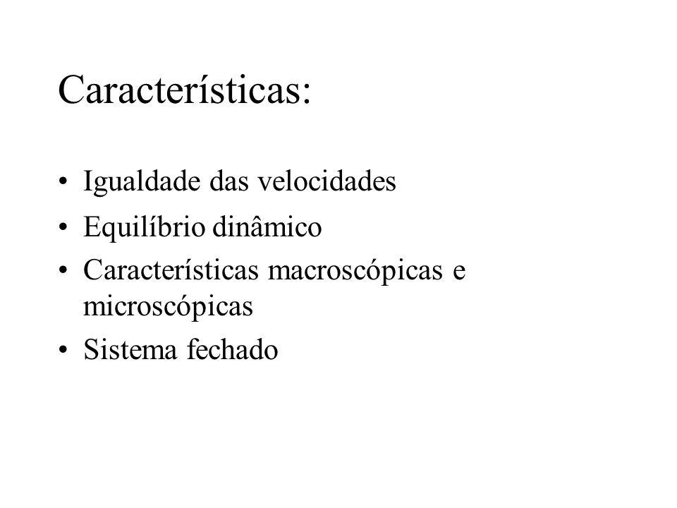 Características: Igualdade das velocidades Equilíbrio dinâmico Características macroscópicas e microscópicas Sistema fechado