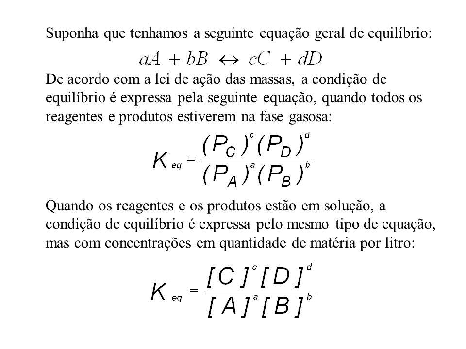 Suponha que tenhamos a seguinte equação geral de equilíbrio: De acordo com a lei de ação das massas, a condição de equilíbrio é expressa pela seguinte