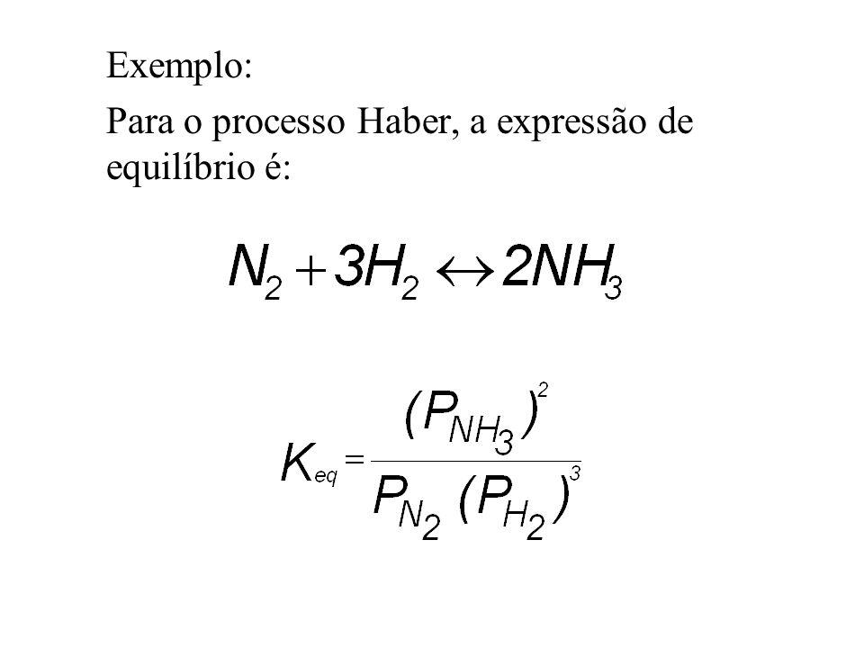 Exemplo: Para o processo Haber, a expressão de equilíbrio é: