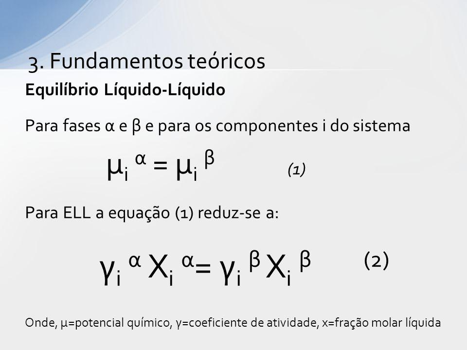 Equilíbrio Líquido-Líquido Para fases α e β e para os componentes i do sistema (1) Para ELL a equação (1) reduz-se a: γ i α X i α = γ i β X i β (2) Onde, μ=potencial químico, γ=coeficiente de atividade, x=fração molar líquida μ i α = μ i β 3.
