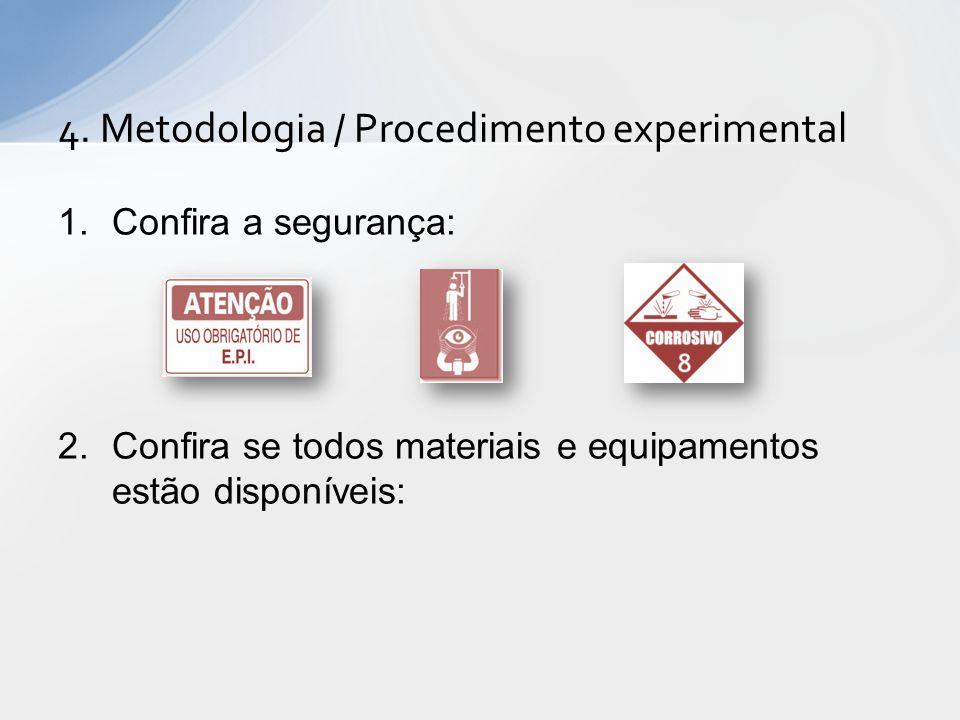 1.Confira a segurança: 2.Confira se todos materiais e equipamentos estão disponíveis: 4.