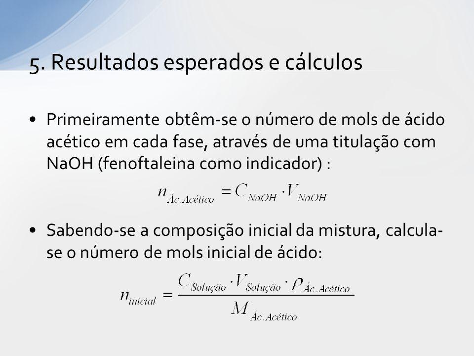 Primeiramente obtêm-se o número de mols de ácido acético em cada fase, através de uma titulação com NaOH (fenoftaleina como indicador) : Sabendo-se a composição inicial da mistura, calcula- se o número de mols inicial de ácido: 5.