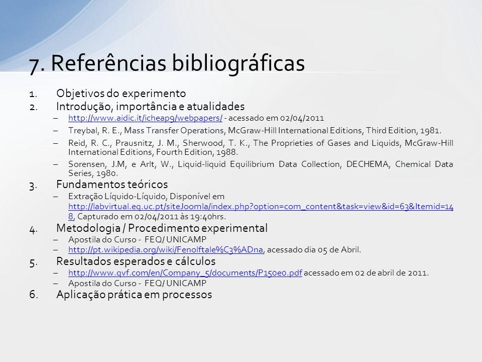 1.Objetivos do experimento 2.Introdução, importância e atualidades –http://www.aidic.it/icheap9/webpapers/ - acessado em 02/04/2011http://www.aidic.it/icheap9/webpapers/ –Treybal, R.