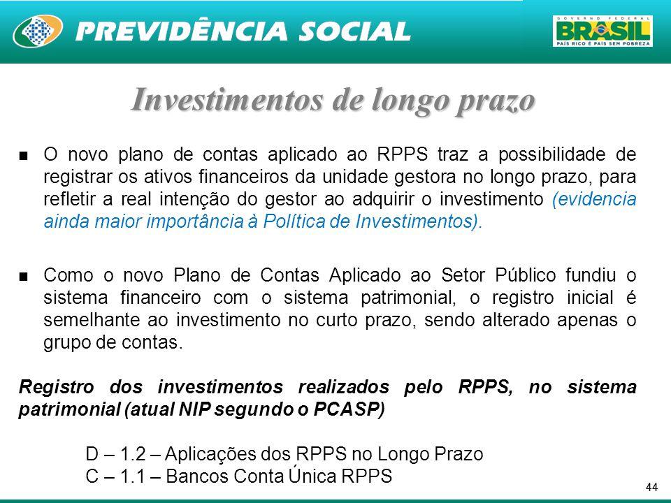 44 Investimentos de longo prazo O novo plano de contas aplicado ao RPPS traz a possibilidade de registrar os ativos financeiros da unidade gestora no longo prazo, para refletir a real intenção do gestor ao adquirir o investimento (evidencia ainda maior importância à Política de Investimentos).
