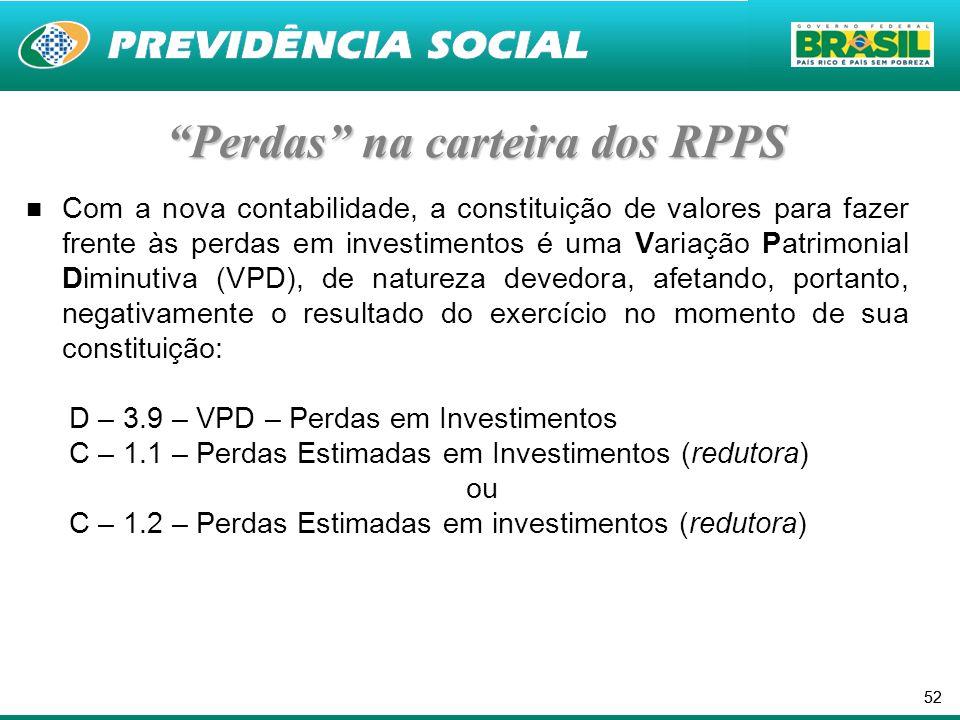 52 Perdas na carteira dos RPPS Com a nova contabilidade, a constituição de valores para fazer frente às perdas em investimentos é uma Variação Patrimonial Diminutiva (VPD), de natureza devedora, afetando, portanto, negativamente o resultado do exercício no momento de sua constituição: D – 3.9 – VPD – Perdas em Investimentos C – 1.1 – Perdas Estimadas em Investimentos (redutora) ou C – 1.2 – Perdas Estimadas em investimentos (redutora)