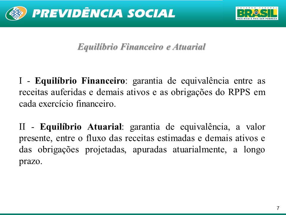 77 Equilíbrio Financeiro e Atuarial I - Equilíbrio Financeiro: garantia de equivalência entre as receitas auferidas e demais ativos e as obrigações do RPPS em cada exercício financeiro.
