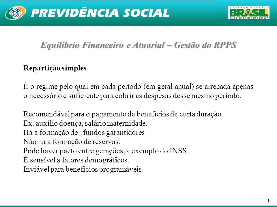 88 Repartição simples É o regime pelo qual em cada período (em geral anual) se arrecada apenas o necessário e suficiente para cobrir as despesas desse mesmo período.