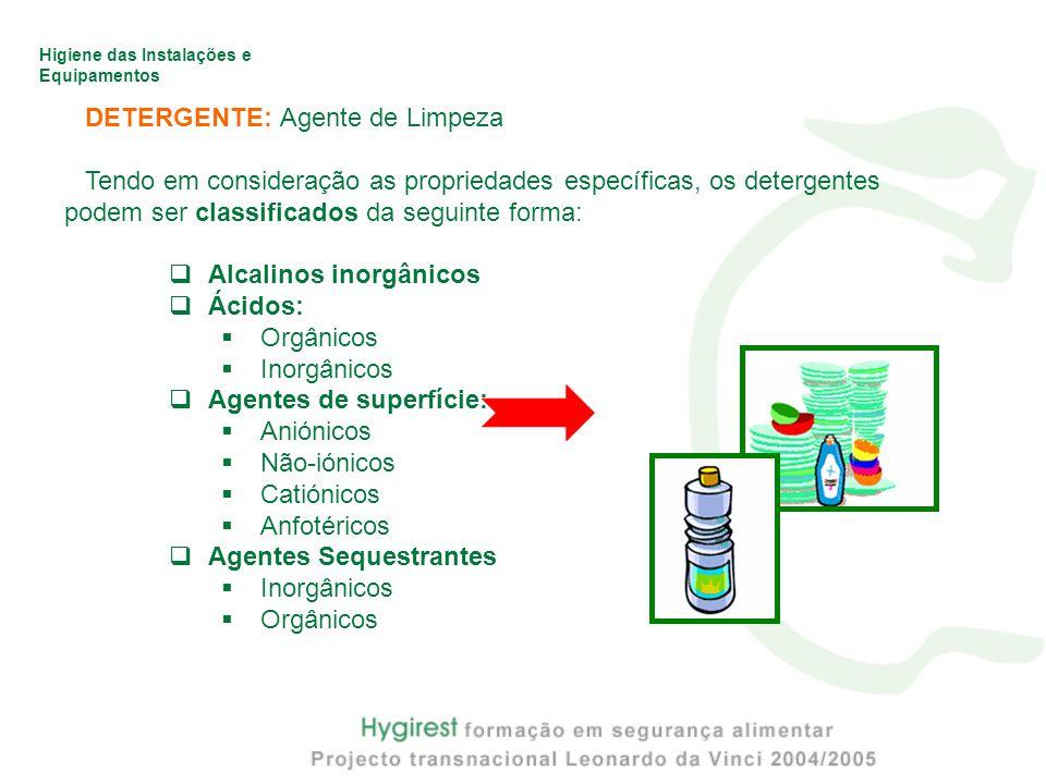 Higiene das Instalações e Equipamentos DETERGENTE: Agente de Limpeza Tendo em consideração as propriedades específicas, os detergentes podem ser classificados da seguinte forma:  Alcalinos inorgânicos  Ácidos:  Orgânicos  Inorgânicos  Agentes de superfície:  Aniónicos  Não-iónicos  Catiónicos  Anfotéricos  Agentes Sequestrantes  Inorgânicos  Orgânicos