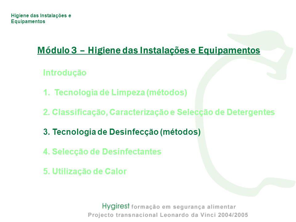 Higiene das Instalações e Equipamentos Módulo 3 – Higiene das Instalações e Equipamentos Introdução 1.Tecnologia de Limpeza (métodos) 2.
