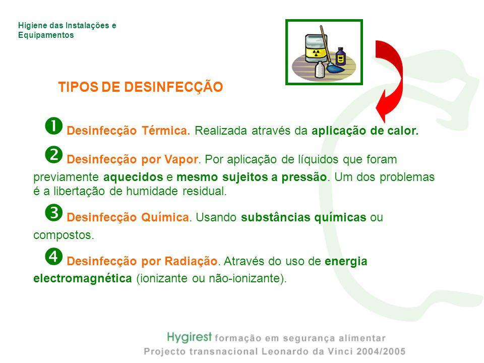 Higiene das Instalações e Equipamentos TIPOS DE DESINFECÇÃO  Desinfecção Térmica.
