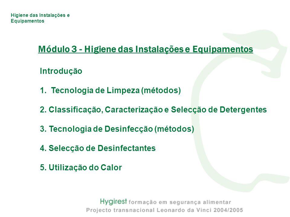 Módulo 3 - Higiene das Instalações e Equipamentos Introdução 1.Tecnologia de Limpeza (métodos) 2.