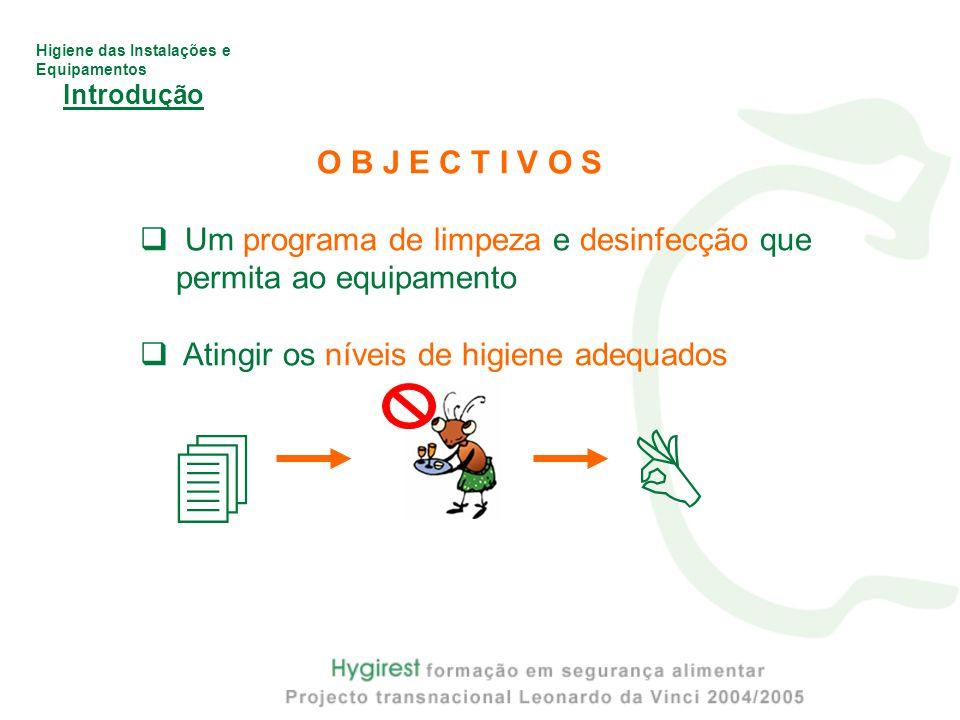 Higiene das Instalações e Equipamentos Introdução O B J E C T I V O S  Um programa de limpeza e desinfecção que permita ao equipamento  Atingir os níveis de higiene adequados  