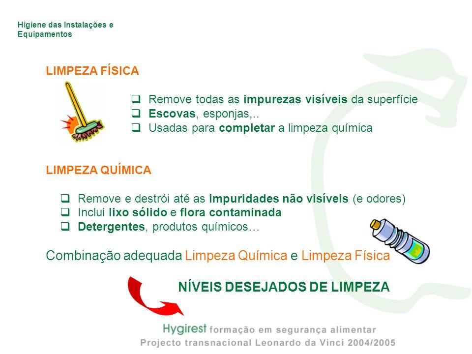 Higiene das Instalações e Equipamentos LIMPEZA FÍSICA  Remove todas as impurezas visíveis da superfície  Escovas, esponjas,..