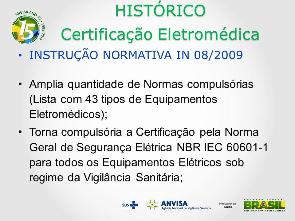 HISTÓRICO Certificação Eletromédica INSTRUÇÃO NORMATIVA IN 08/2009 Amplia quantidade de Normas compulsórias (Lista com 43 tipos de Equipamentos Eletromédicos); Torna compulsória a Certificação pela Norma Geral de Segurança Elétrica NBR IEC 60601-1 para todos os Equipamentos Elétricos sob regime da Vigilância Sanitária;