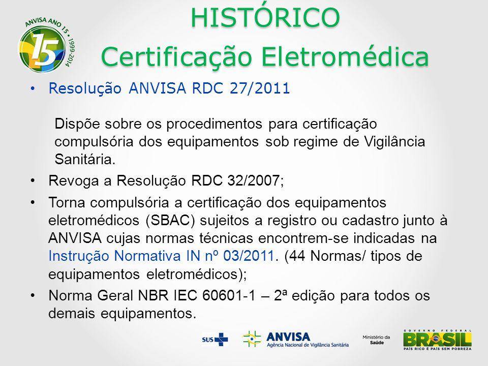 HISTÓRICO Certificação Eletromédica Resolução ANVISA RDC 27/2011 Dispõe sobre os procedimentos para certificação compulsória dos equipamentos sob regime de Vigilância Sanitária.