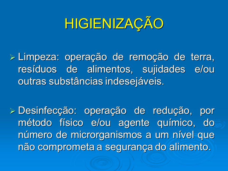 HIGIENIZAÇÃO  Limpeza: operação de remoção de terra, resíduos de alimentos, sujidades e/ou outras substâncias indesejáveis.  Desinfecção: operação d