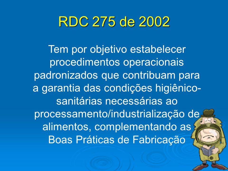 RDC 275 de 2002 Tem por objetivo estabelecer procedimentos operacionais padronizados que contribuam para a garantia das condições higiênico- sanitária