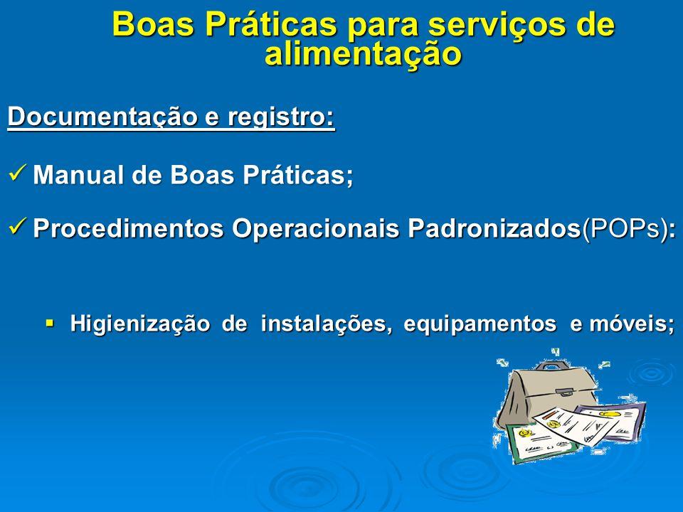 Documentação e registro: Boas Práticas para serviços de alimentação Manual de Boas Práticas; Manual de Boas Práticas; Procedimentos Operacionais Padro