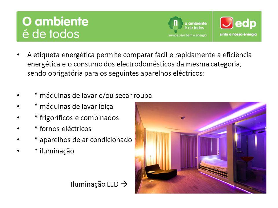 A etiqueta energética permite comparar fácil e rapidamente a eficiência energética e o consumo dos electrodomésticos da mesma categoria, sendo obrigatória para os seguintes aparelhos eléctricos: * máquinas de lavar e/ou secar roupa * máquinas de lavar loiça * frigoríficos e combinados * fornos eléctricos * aparelhos de ar condicionado * iluminação Iluminação LED 