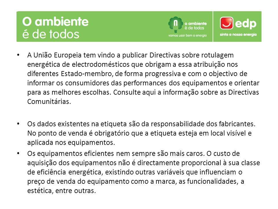 A União Europeia tem vindo a publicar Directivas sobre rotulagem energética de electrodomésticos que obrigam a essa atribuição nos diferentes Estado-membro, de forma progressiva e com o objectivo de informar os consumidores das performances dos equipamentos e orientar para as melhores escolhas.
