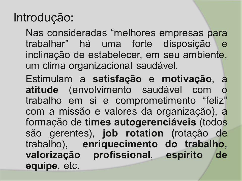 Introdução : Nas consideradas melhores empresas para trabalhar há uma forte disposição e inclinação de estabelecer, em seu ambiente, um clima organizacional saudável.