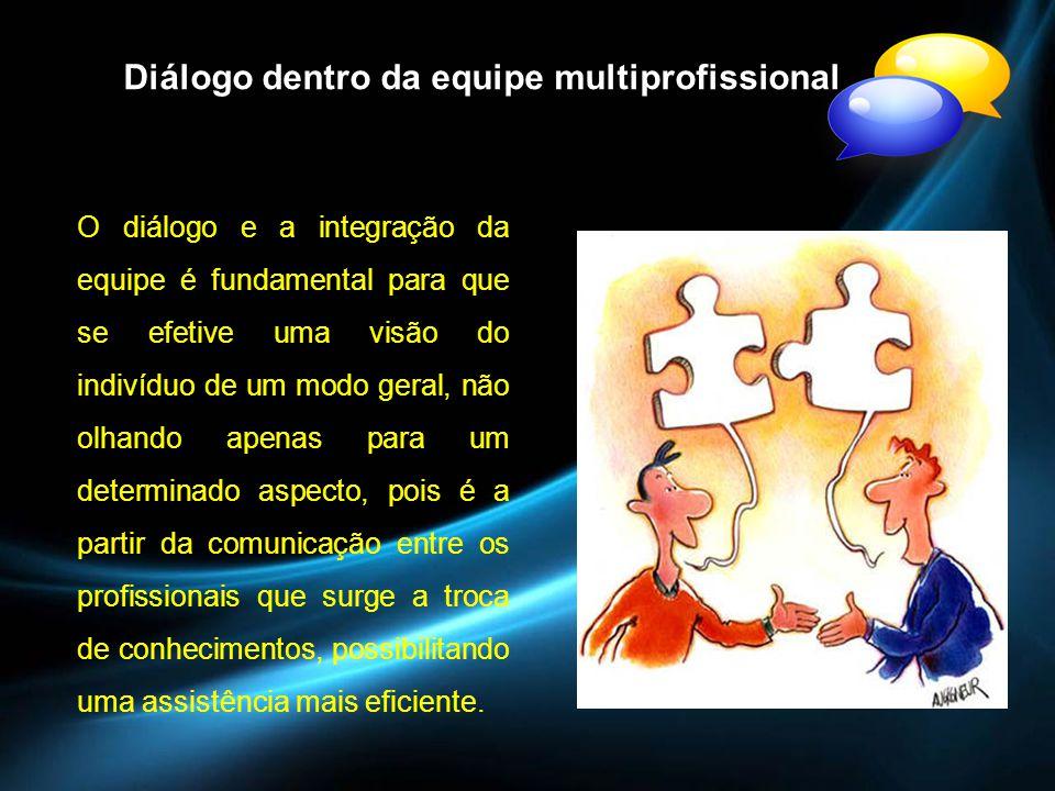 Dialogo dentro da equipe multiprofissional Diálogo dentro da equipe multiprofissional O diálogo e a integração da equipe é fundamental para que se efe