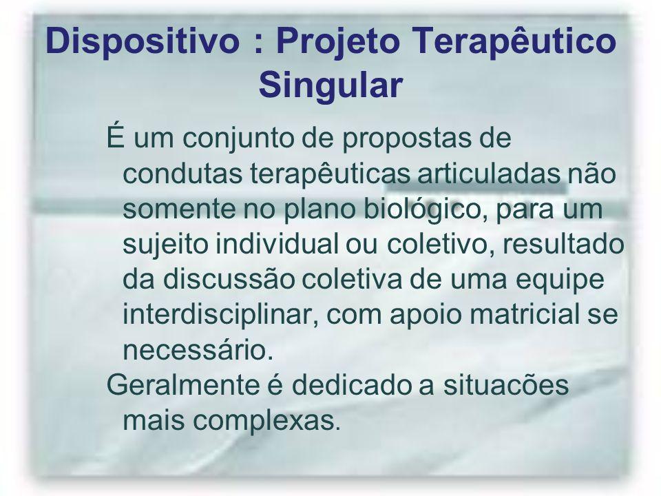 Dispositivo : Projeto Terapêutico Singular É um conjunto de propostas de condutas terapêuticas articuladas não somente no plano biológico, para um suj