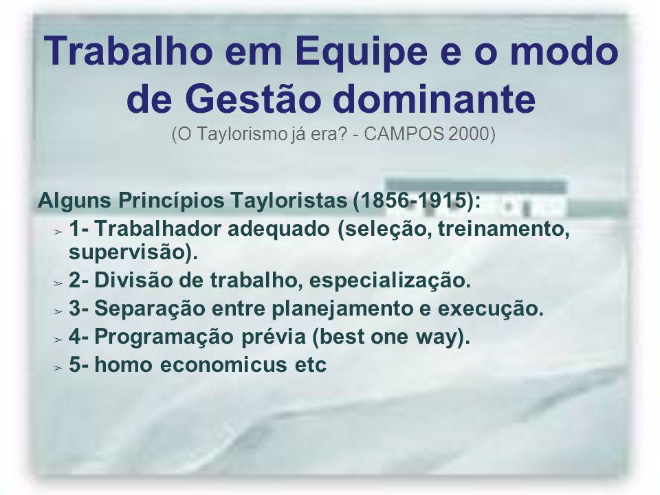 Trabalho em Equipe e o modo de Gestão dominante (O Taylorismo já era? - CAMPOS 2000) Alguns Princípios Tayloristas (1856-1915): ➢ 1- Trabalhador adequ