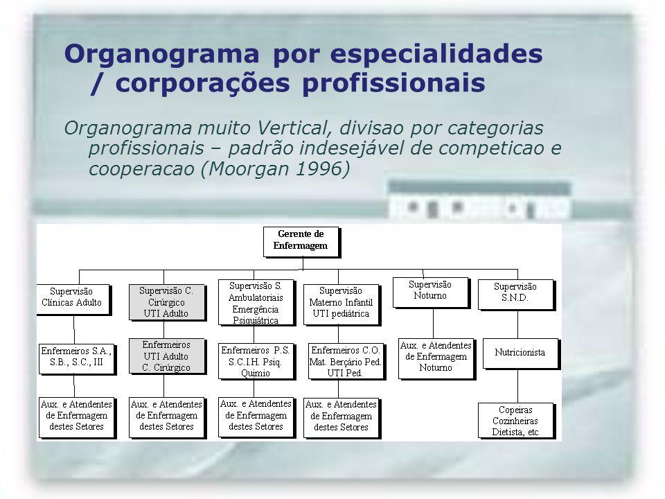 Organograma por especialidades / corporações profissionais Organograma muito Vertical, divisao por categorias profissionais – padrão indesejável de co