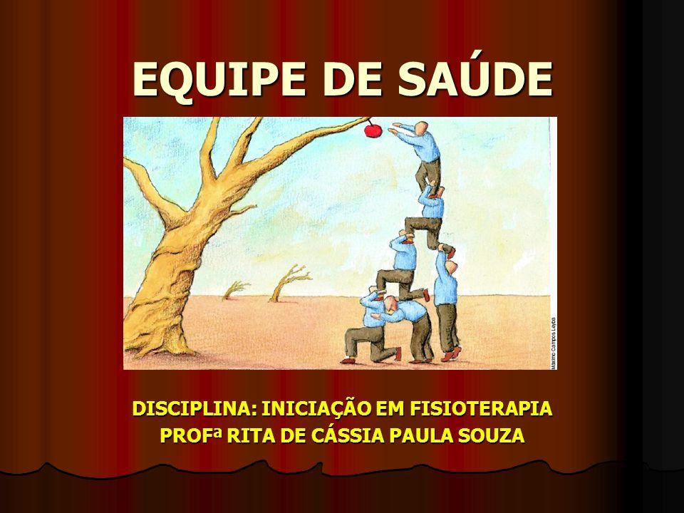 EQUIPE DE SAÚDE DISCIPLINA: INICIAÇÃO EM FISIOTERAPIA PROFª RITA DE CÁSSIA PAULA SOUZA