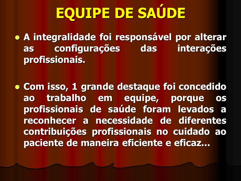 EQUIPE DE SAÚDE A integralidade foi responsável por alterar as configurações das interações profissionais. A integralidade foi responsável por alterar
