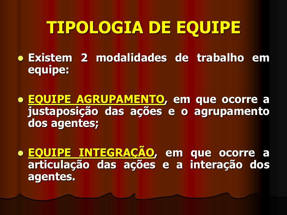 TIPOLOGIA DE EQUIPE Existem 2 modalidades de trabalho em equipe: Existem 2 modalidades de trabalho em equipe: EQUIPE AGRUPAMENTO, em que ocorre a just