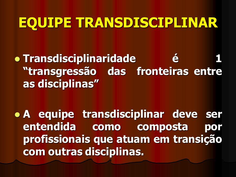 """EQUIPE TRANSDISCIPLINAR Transdisciplinaridade é 1 """"transgressão das fronteiras entre as disciplinas"""" Transdisciplinaridade é 1 """"transgressão das front"""