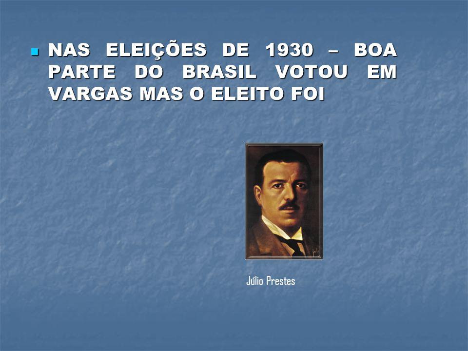 NAS ELEIÇÕES DE 1930 – BOA PARTE DO BRASIL VOTOU EM VARGAS MAS O ELEITO FOI NAS ELEIÇÕES DE 1930 – BOA PARTE DO BRASIL VOTOU EM VARGAS MAS O ELEITO FOI Júlio Prestes
