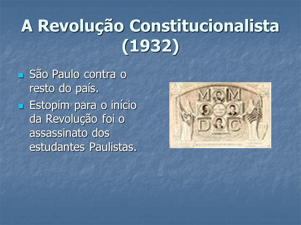 A Revolução Constitucionalista (1932) São Paulo contra o resto do país.