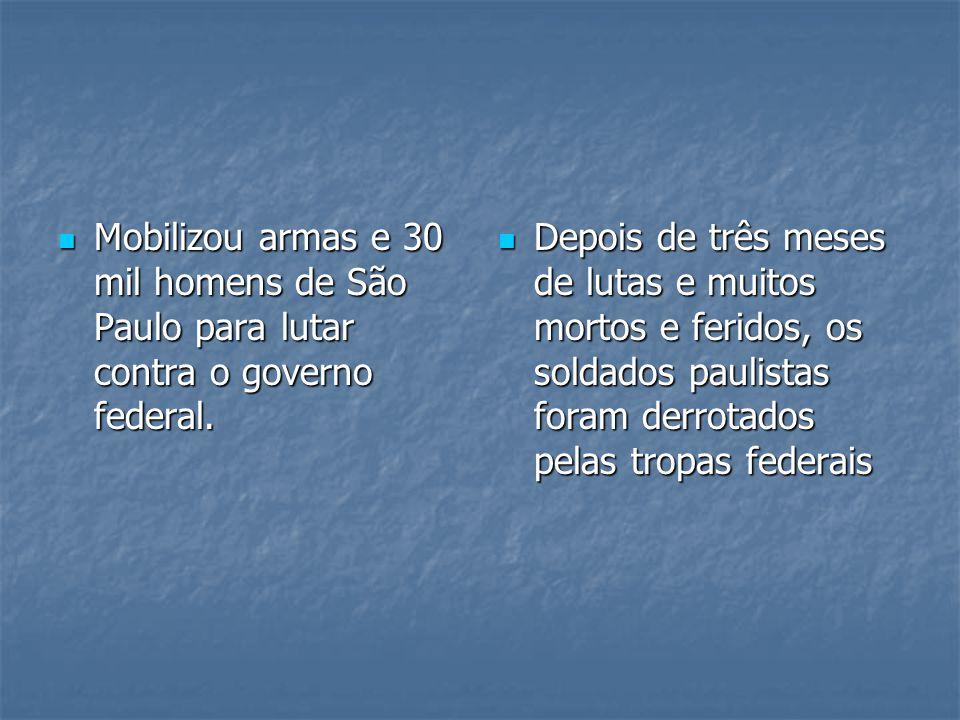 Mobilizou armas e 30 mil homens de São Paulo para lutar contra o governo federal.