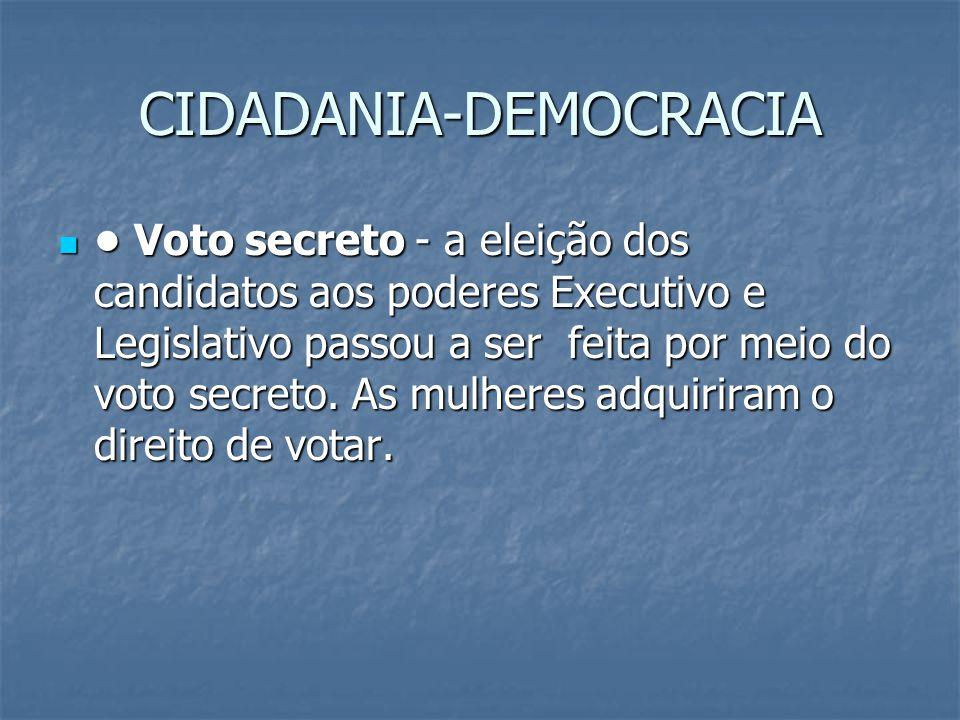 Voto secreto - a eleição dos candidatos aos poderes Executivo e Legislativo passou a ser feita por meio do voto secreto.