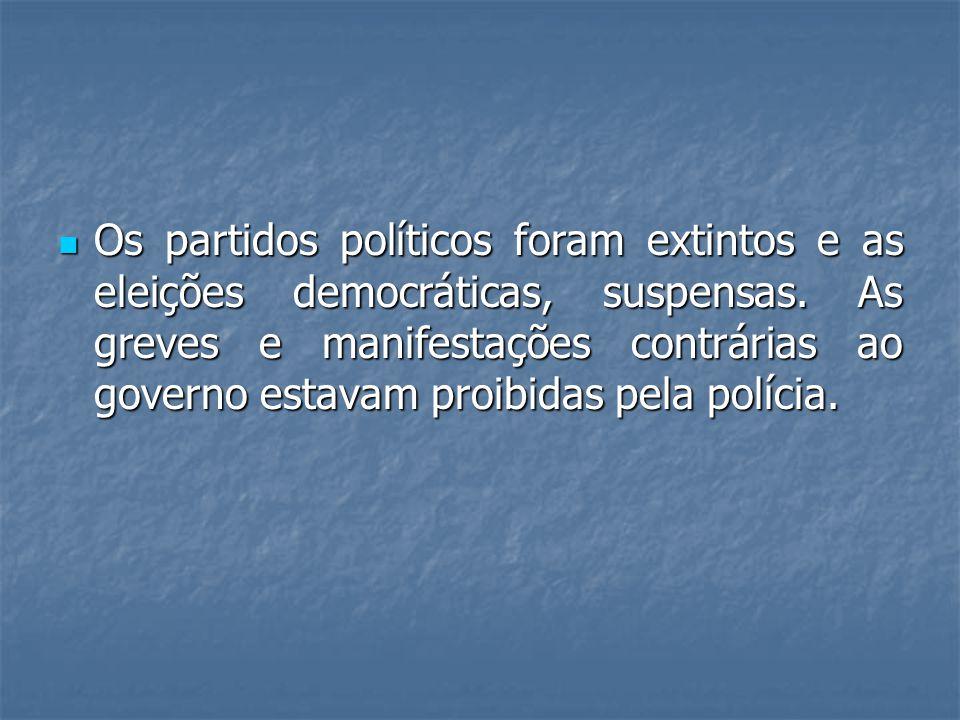 Os partidos políticos foram extintos e as eleições democráticas, suspensas.