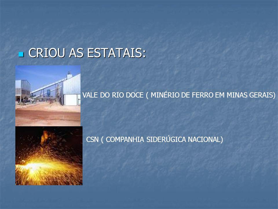 CRIOU AS ESTATAIS: CRIOU AS ESTATAIS: VALE DO RIO DOCE ( MINÉRIO DE FERRO EM MINAS GERAIS) CSN ( COMPANHIA SIDERÚGICA NACIONAL)
