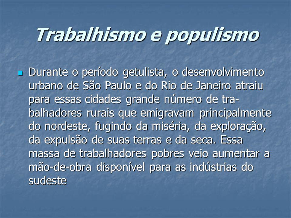 Trabalhismo e populismo Durante o período getulista, o desenvolvimento urbano de São Paulo e do Rio de Janeiro atraiu para essas cidades grande número de tra balhadores rurais que emigravam principalmente do nordeste, fugindo da miséria, da exploração, da expulsão de suas terras e da seca.