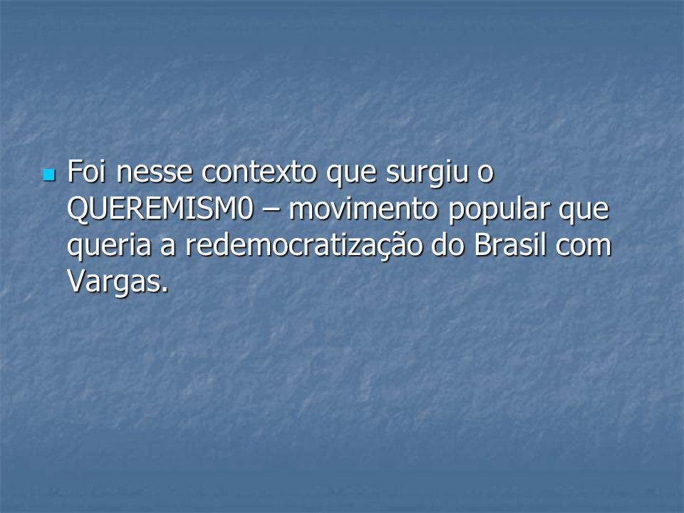 Foi nesse contexto que surgiu o QUEREMISM0 – movimento popular que queria a redemocratização do Brasil com Vargas.