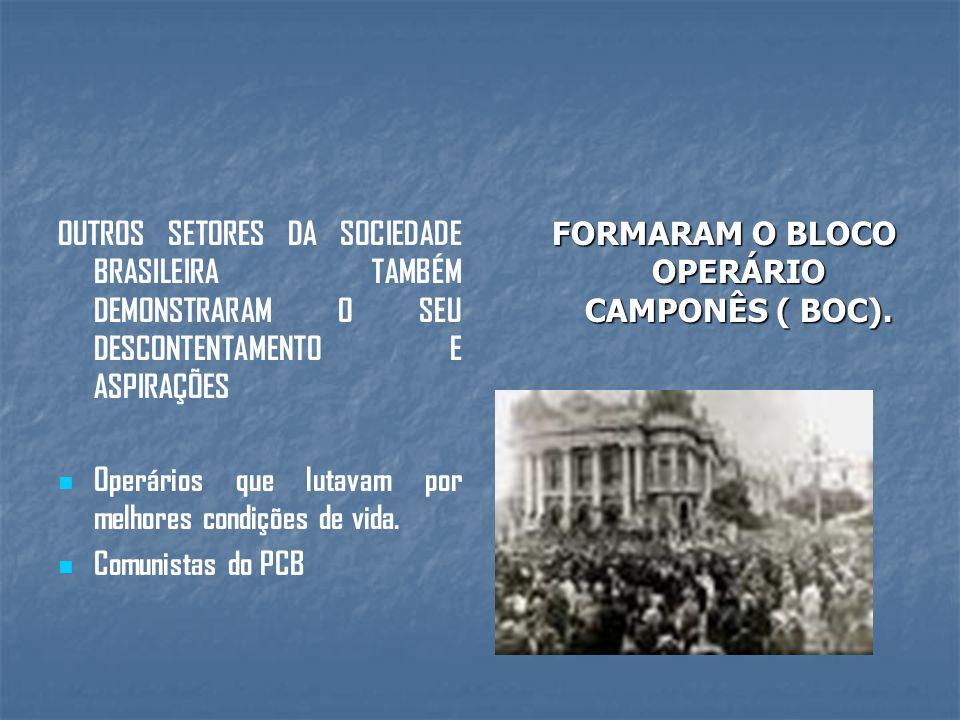 OUTROS SETORES DA SOCIEDADE BRASILEIRA TAMBÉM DEMONSTRARAM O SEU DESCONTENTAMENTO E ASPIRAÇÕES Operários que lutavam por melhores condições de vida.